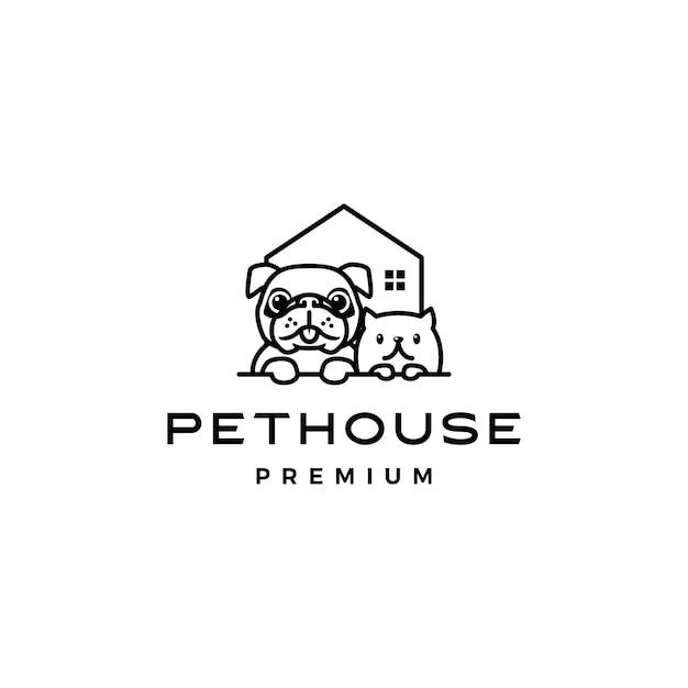 Ikonka logo domu pies pies dom dom Premium Wektorów