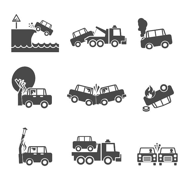 Ikony awarii samochodu Darmowych Wektorów