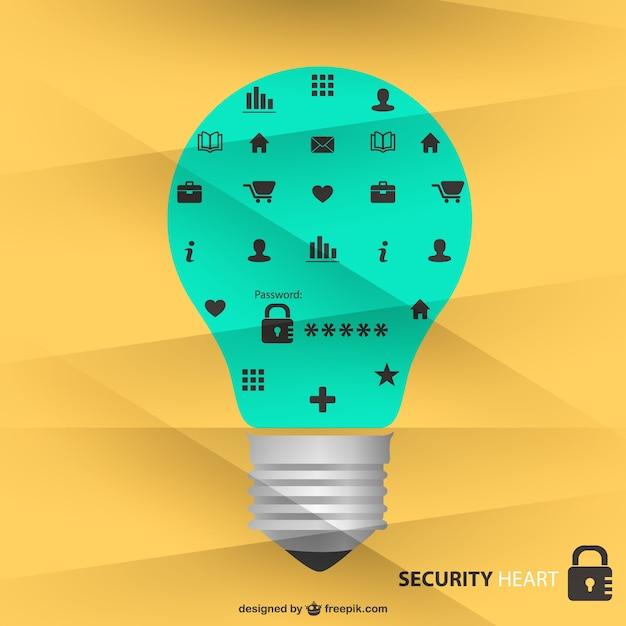 Ikony bezpieczeństwa żarówka projekt Darmowych Wektorów
