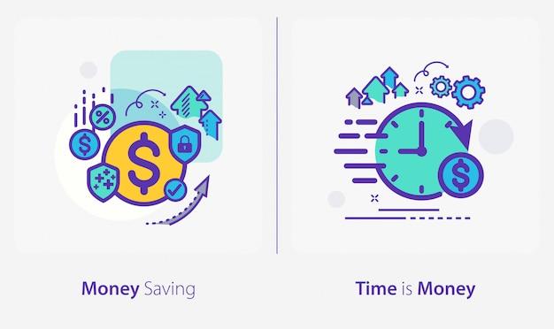 Ikony biznesu i finansów, oszczędzanie pieniędzy, czas to pieniądz Premium Wektorów