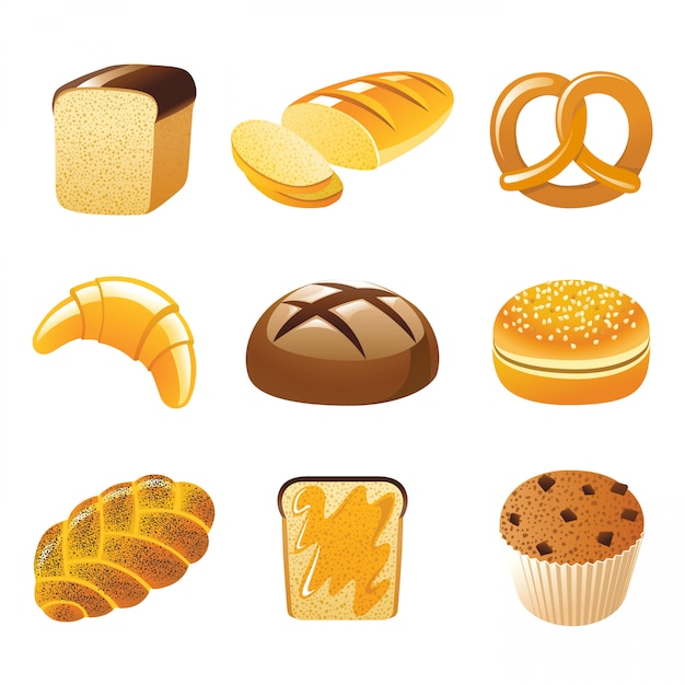 Ikony chleba Premium Wektorów