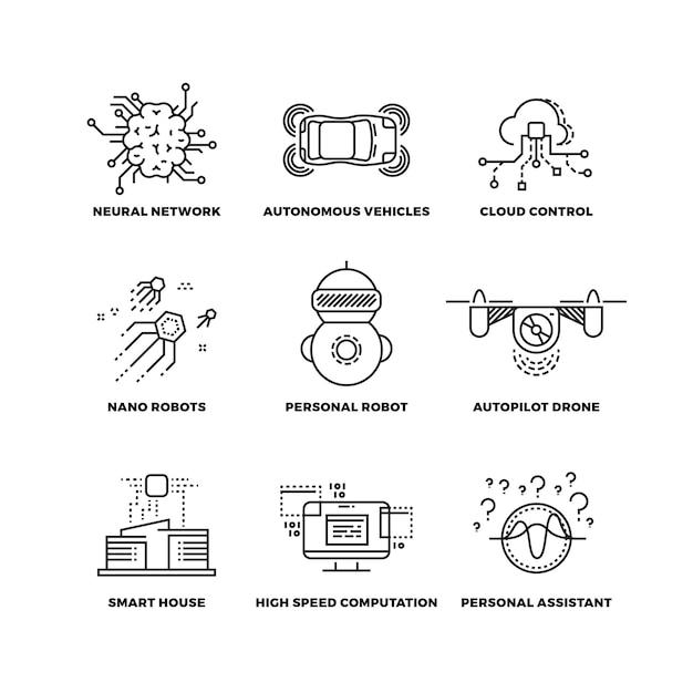Ikony cienka linia robota sztucznej inteligencji Premium Wektorów