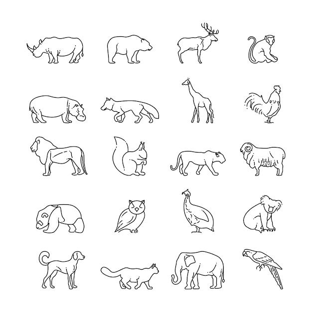 Ikony cienka linia zwierząt Premium Wektorów