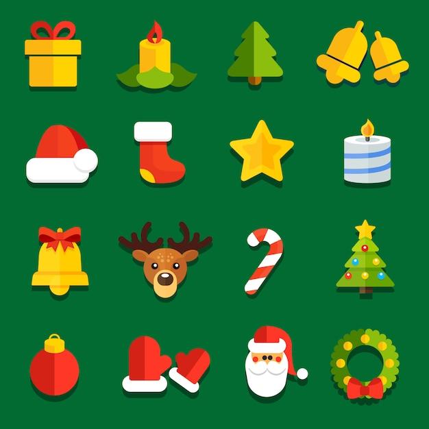 Ikony do świątecznych dekoracji płaskich świątecznych dekoracji Premium Wektorów
