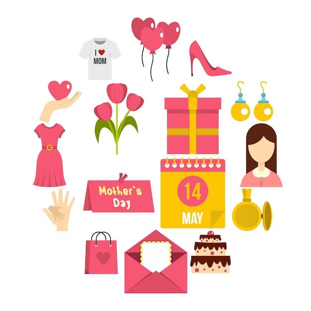 Ikony Dzień Matki W Stylu Płaski Premium Wektorów
