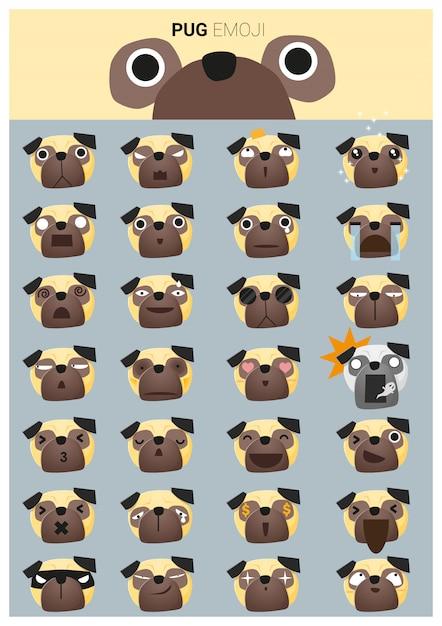 Ikony Emoji Mops Premium Wektorów