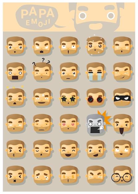 Ikony emoji papa Premium Wektorów