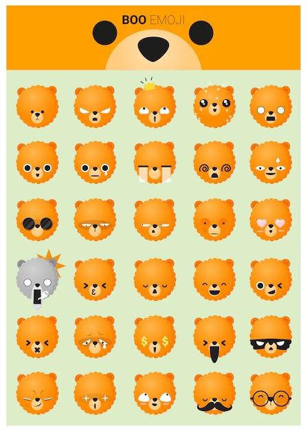 Ikony emoji psa Premium Wektorów
