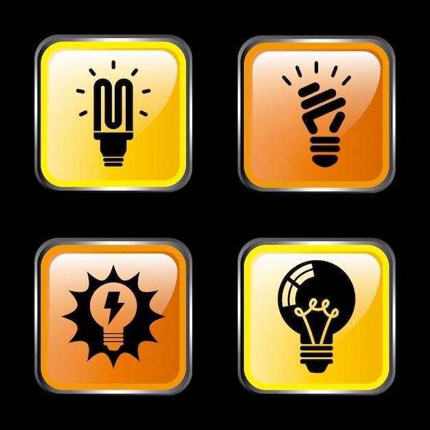 Ikony energii w ciemności Darmowych Wektorów