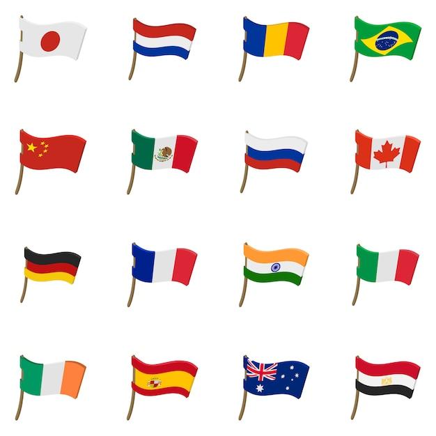 Ikony flag w stylu kreskówka na białym tle Premium Wektorów