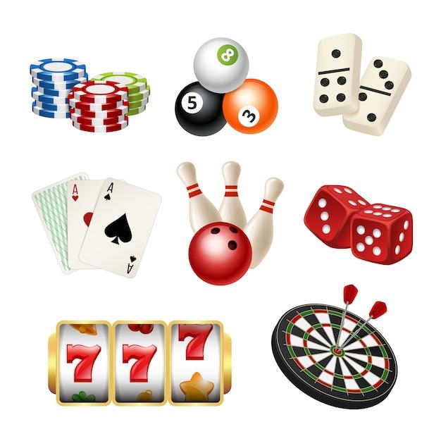 Ikony gier kasynowych. karty do gry kręgle rzutki domino kostki realistyczne narzędzia gry Premium Wektorów