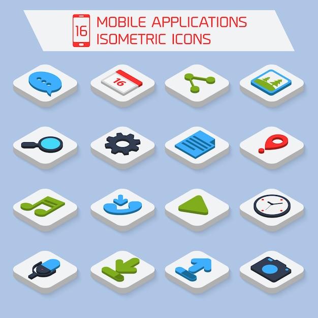 Ikony Izometryczne Aplikacji Mobilnych Premium Wektorów