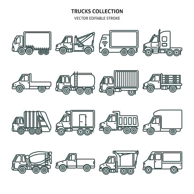 Ikony Kart Samochodów Ciężarowych W Stylu Cienkich Linii Premium Wektorów
