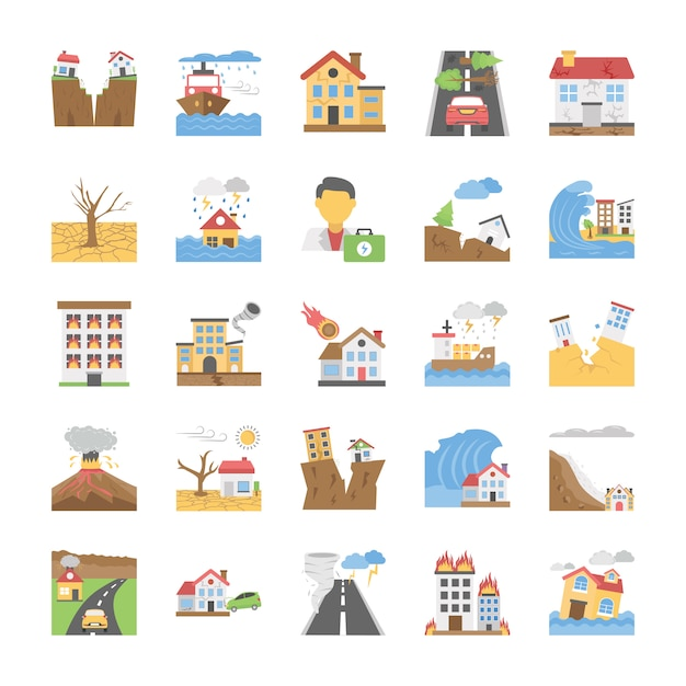 Ikony Klęsk żywiołowych Premium Wektorów
