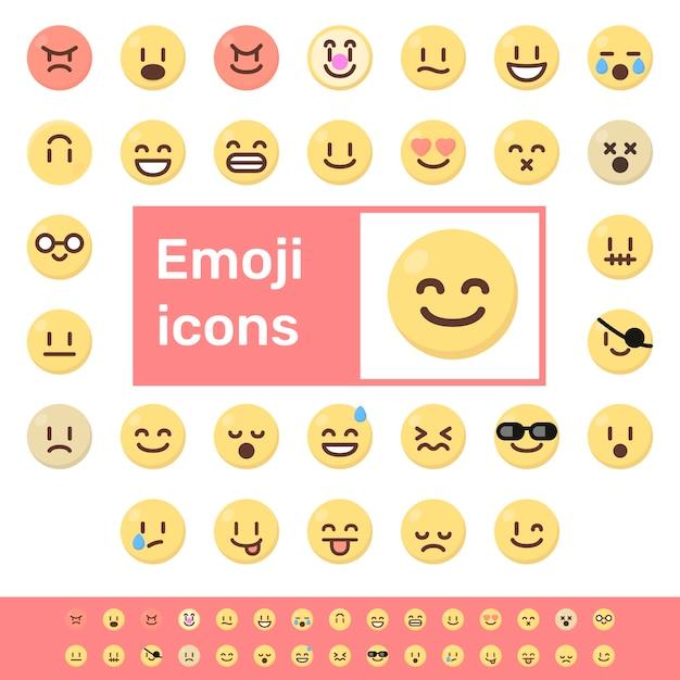 Ikony kolorowe emoji Premium Wektorów
