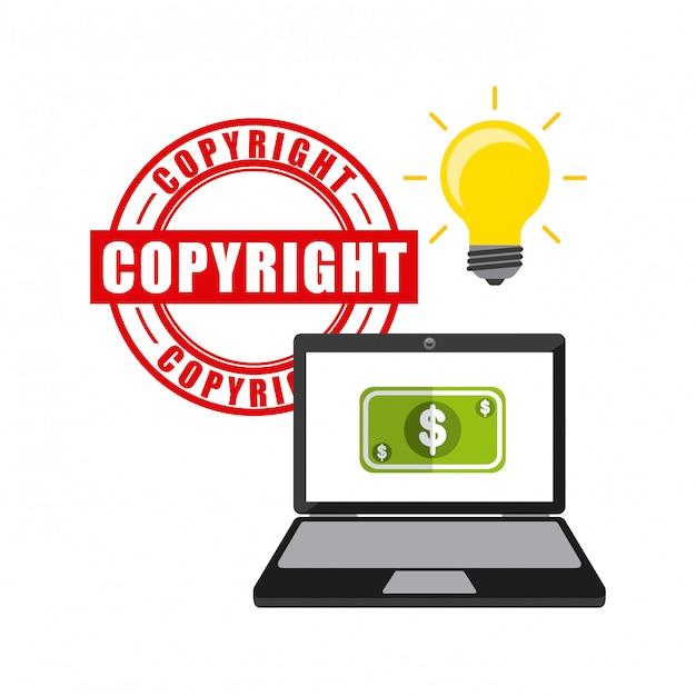 Ikony koncepcja praw autorskich biznesowych Premium Wektorów