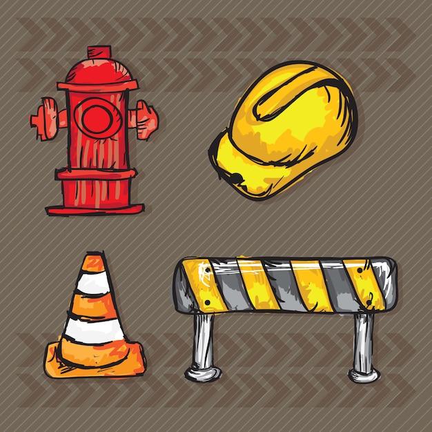 Ikony Konstrukcyjne (szyszki Drogowe Z Hydrantem) Premium Wektorów