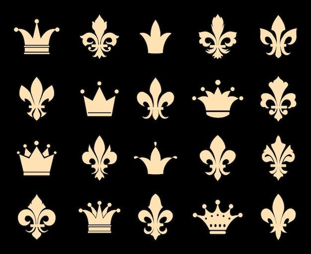 Ikony Korony I Fleur De Lis. Symbol Insygnia, Królewska Antyczna Dekoracja Heraldyczna, Ilustracji Wektorowych Darmowych Wektorów