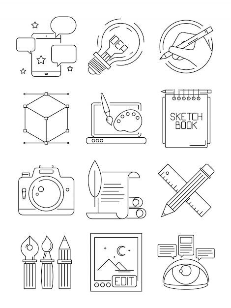 Ikony Kreatywnych Linii. Proces Artystów Brandujących Blogi Graficzne Symbole Sztuki Na Białym Tle Premium Wektorów
