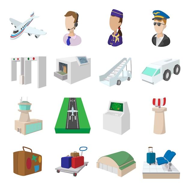 Ikony Kreskówka Lotniska Zestaw Na Białym Tle Premium Wektorów