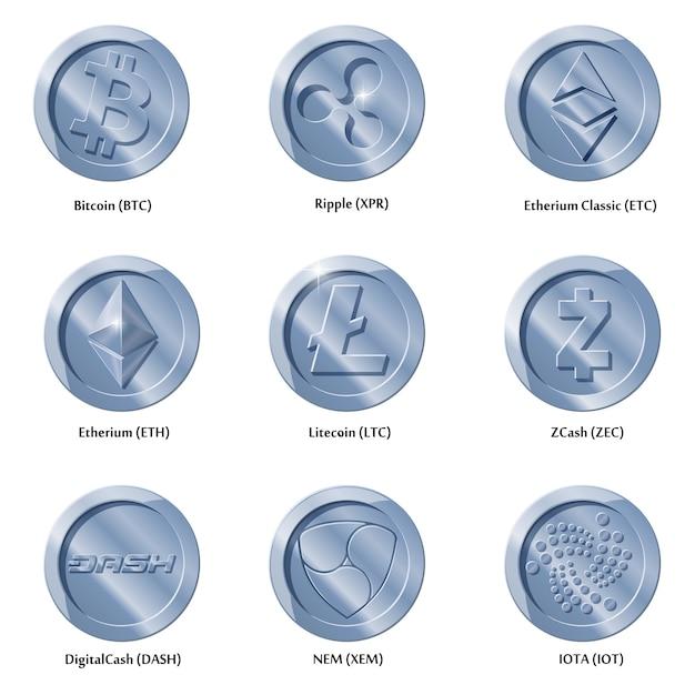 Ikony Kryptowaluty Monety Premium Wektorów
