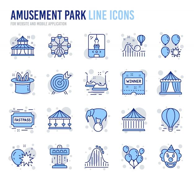 Ikony linii parku rozrywki Premium Wektorów