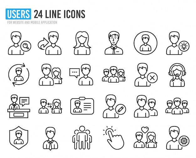 Ikony linii użytkowników. profile męskie i żeńskie. Premium Wektorów