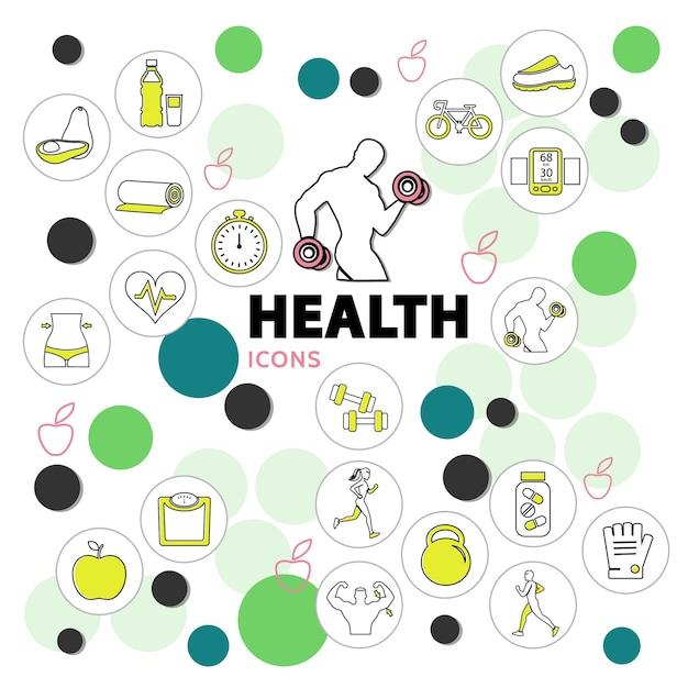 Ikony Linii Zdrowia Zestaw Ze Sprzętem Sportowym Prawidłowe Odżywianie Rowerowe Wagi Witaminy Stoper W Kręgach Darmowych Wektorów