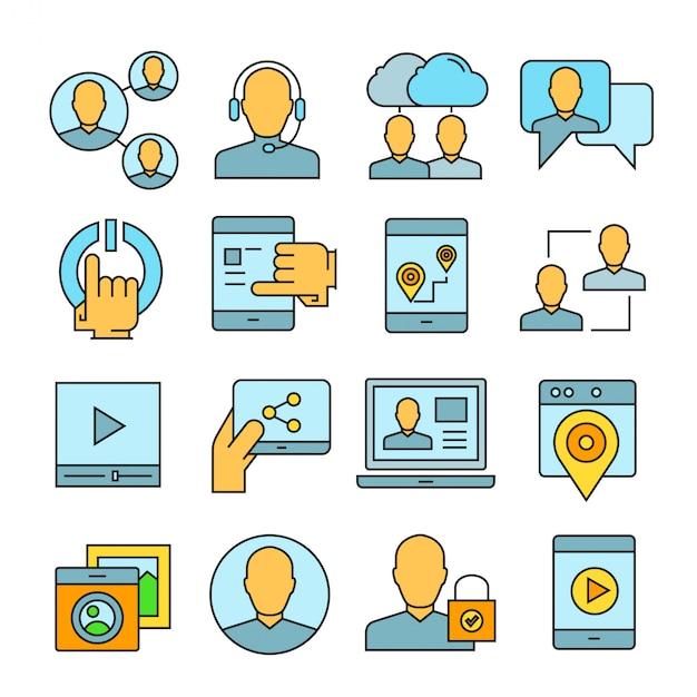 Ikony mediów społecznościowych i sieciowych Premium Wektorów