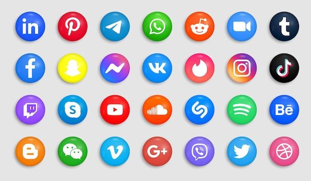 Ikony Mediów Społecznościowych W Nowoczesny Przycisk Lub Okrągłe Logo Premium Wektorów