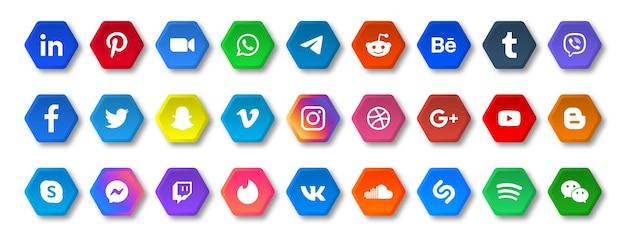Ikony Mediów Społecznościowych W Przyciskach Wielokątów Z Logo W Zaokrąglonym Rogu Premium Wektorów