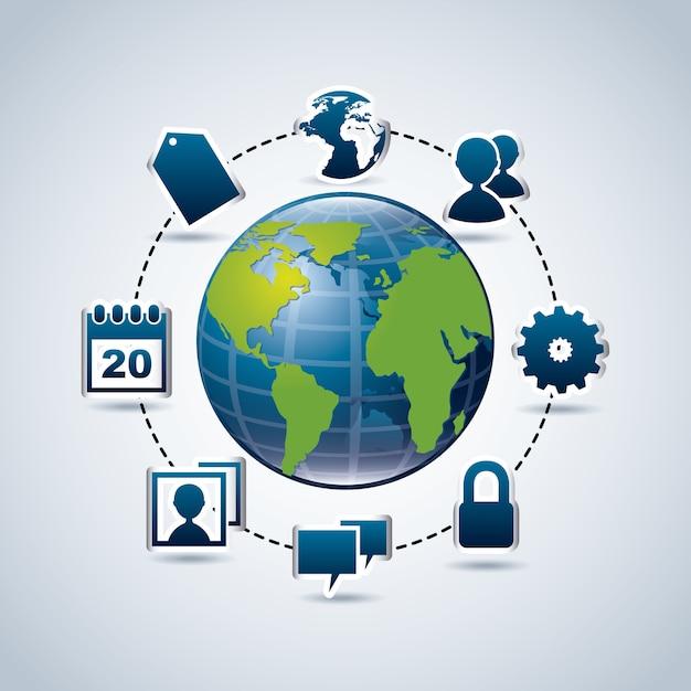 Ikony Mediów Społecznych Na Niebieskim Tle Ilustracji Wektorowych Premium Wektorów