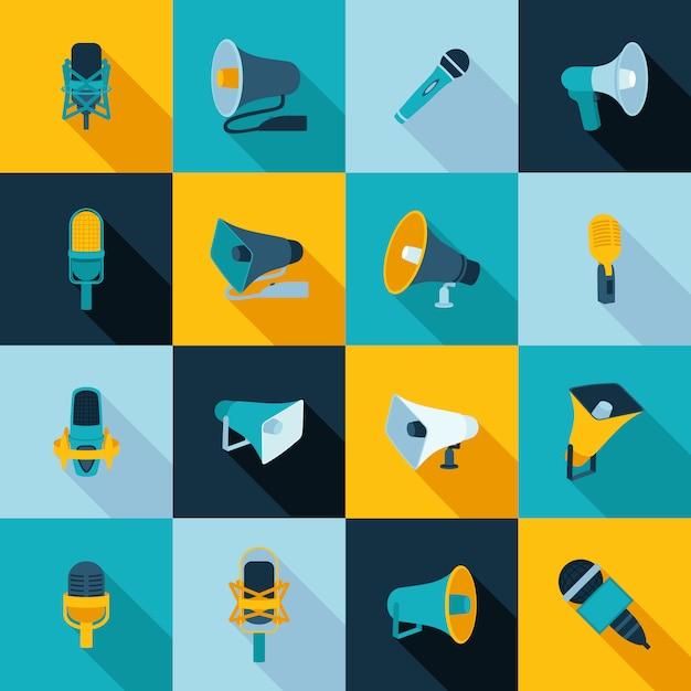 Ikony mikrofonu i megafonu płaskie Premium Wektorów