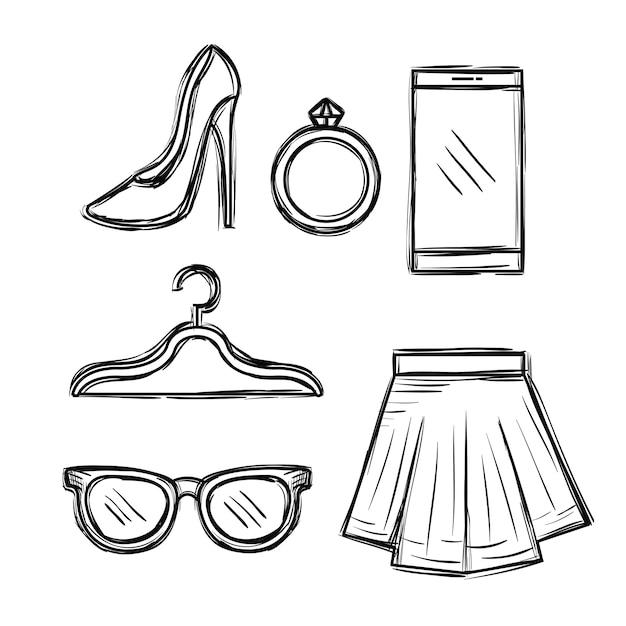 Ikony mody kobiece akcesoria Premium Wektorów