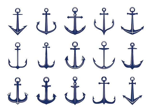 Ikony Morskie Kotwicy. Symboli Marynarki Kotwice Statek Lub łódź. Szablon Morskich Retro Logotypów Premium Wektorów