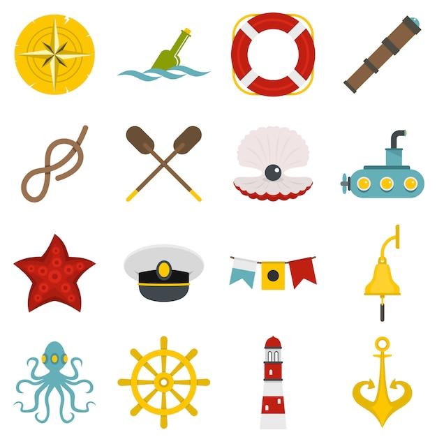 Ikony Morskie W Stylu Płaski Premium Wektorów