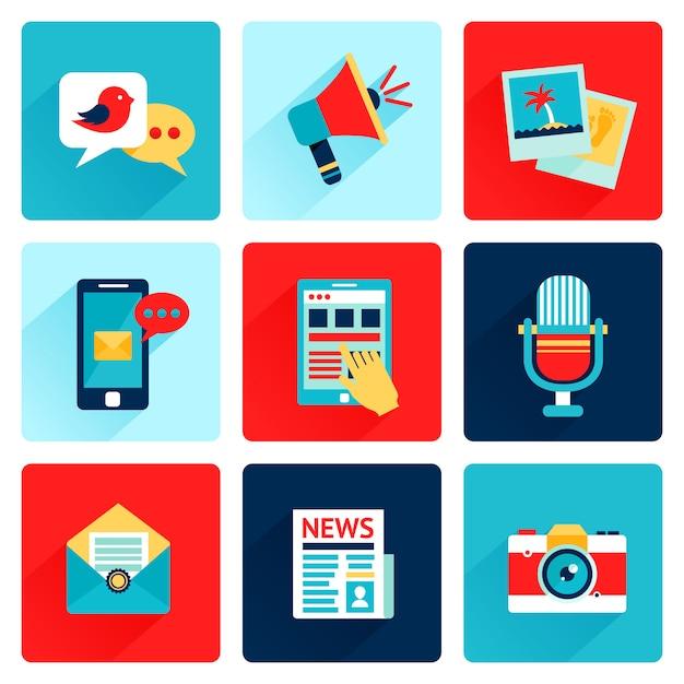 Ikony multimedialne płaskie Premium Wektorów