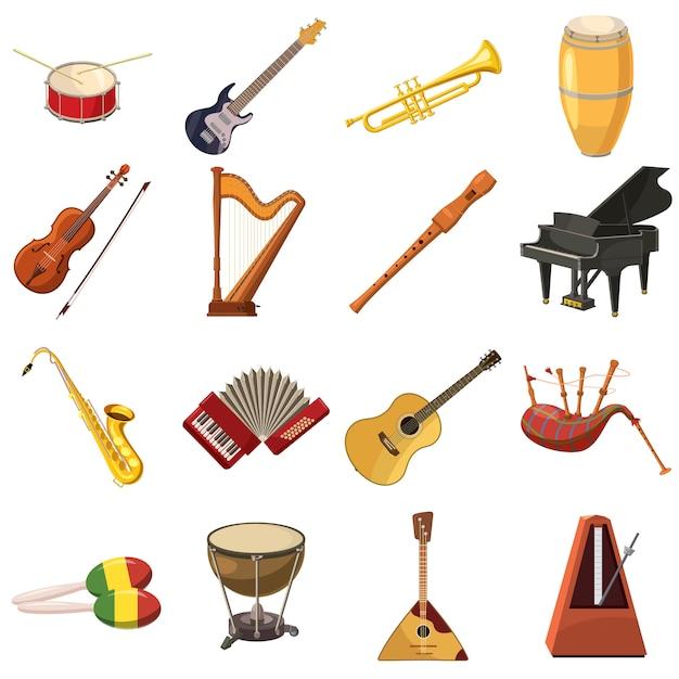 Ikony Muzyczne Ustawione W Stylu Kreskówki Dla Każdego Projektu Premium Wektorów