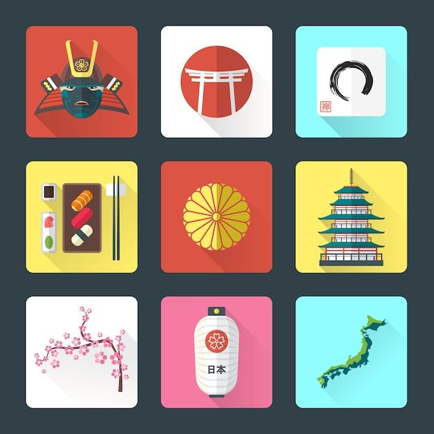 Ikony narodowe tematu japonii z zestawem cieni Premium Wektorów