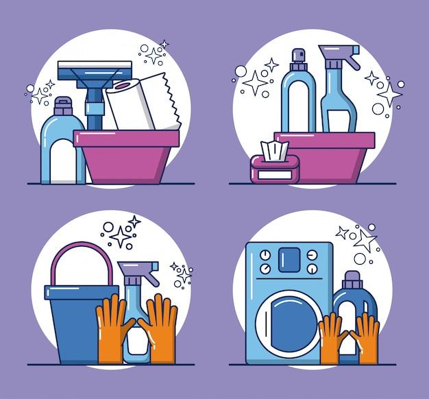 Ikony Narzędzi I Produktów Do Sprzątania Premium Wektorów