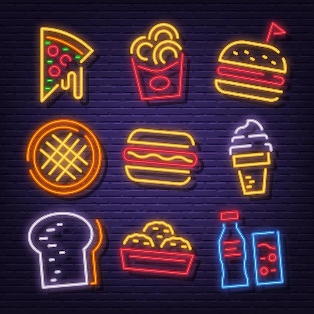 Ikony Neonowe Fast Food Premium Wektorów