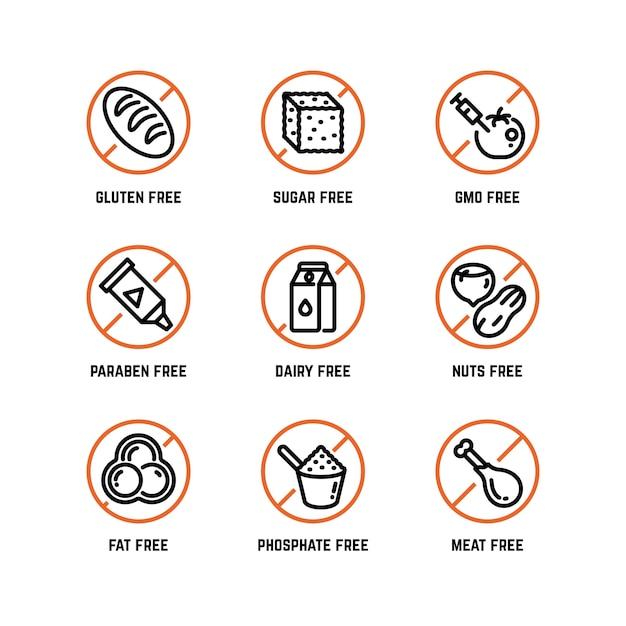 Ikony Ostrzegające O Składnikach żywności, Bez Fosforanów, Bez Gmo, Bez Symboli Glutenu Premium Wektorów