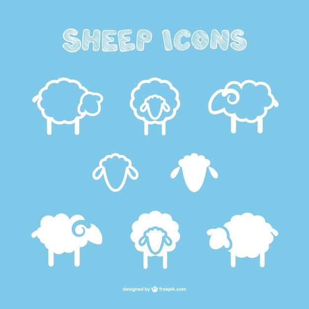 Ikony owiec Darmowych Wektorów