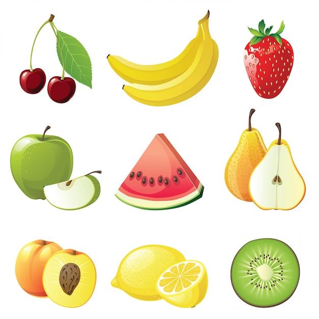 Ikony Owoców Premium Wektorów