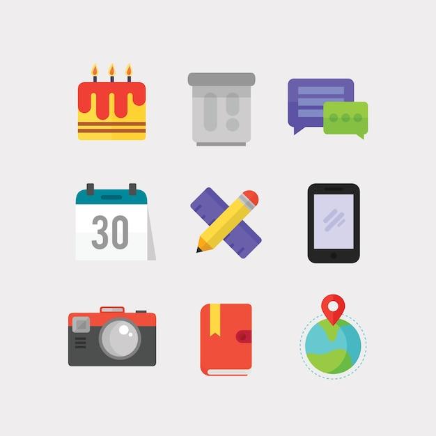 Ikony Płaskie Do Projektowania Interfejsu Użytkownika Premium Wektorów