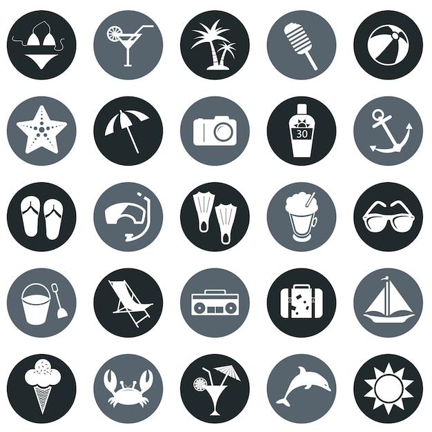 Ikony plaży Darmowych Wektorów