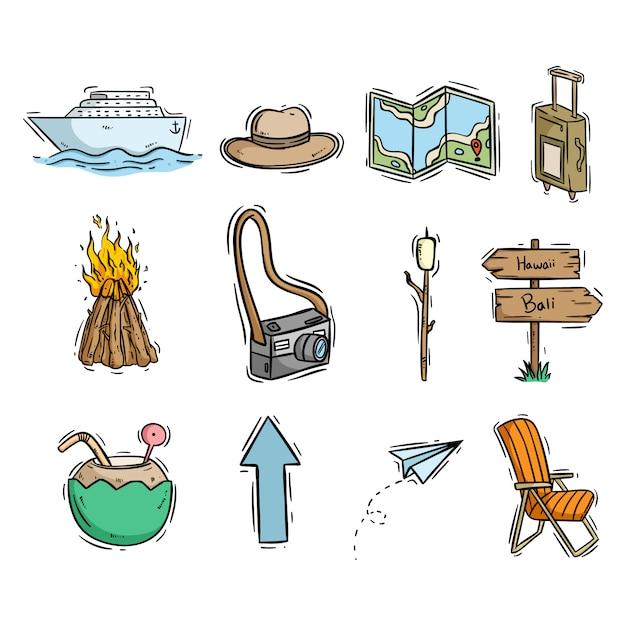 Ikony Podróży Lub Plaży Z Ręcznie Rysowane Lub Doodle Stylu Premium Wektorów