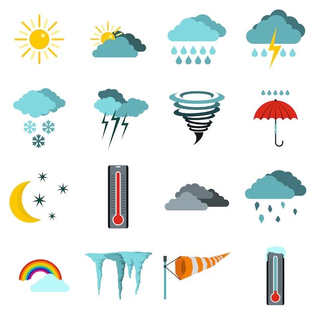 Ikony Pogody Premium Wektorów