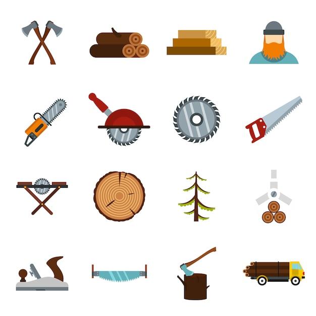 Ikony Przemysłu Drzewnego W Stylu Płaski Premium Wektorów