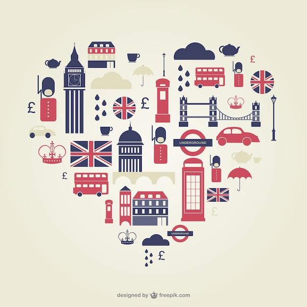 Ikony Serce Płaskie Londyn Premium Wektorów